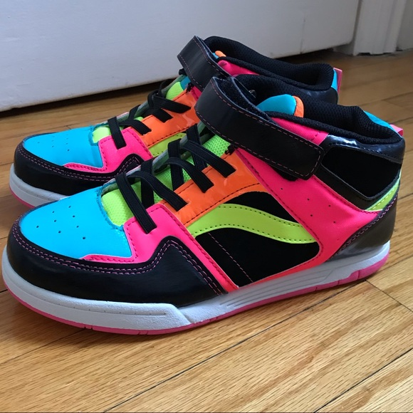 OP Shoes   Patent And Neon High Tops
